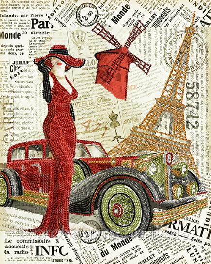 Схема на ткани для вышивания бисером Париж