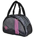 Сумка женская спортивная темно-серая с розовыми вставками, фото 2