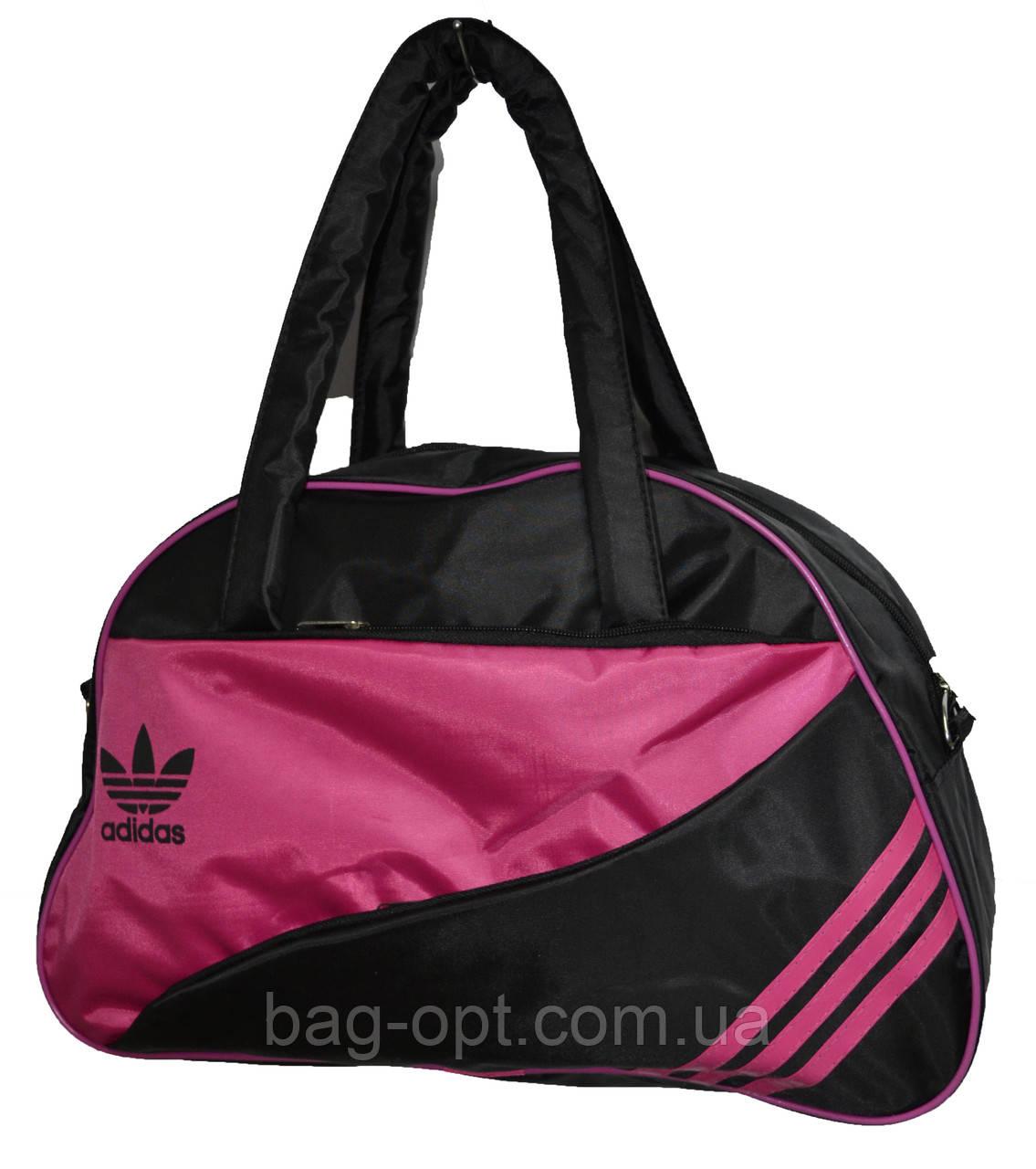 Сумка женская спортивная черная с розовыми вставками