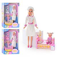 Кукла DEFA 20995, медсестра, ребенок, мед инстр, кроватка, 2 цвета, в кор-ке, 33-24-8см