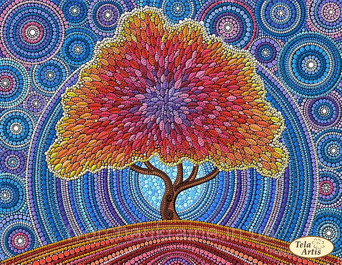 Схема для вышивания бисером Дерево счастья