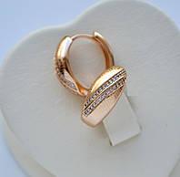 Красивые серьги-кольца с тиснением и цирконами в два ряда фирма Xuping позолота 18к.