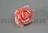 Голова персиково-розовой розы из латекса 7-8 см/1 шт