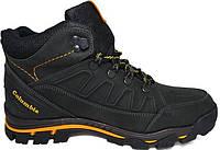 Зимние мужские кожаные ботинки Columbia Black обувь Коламбия качество тепло комфорт