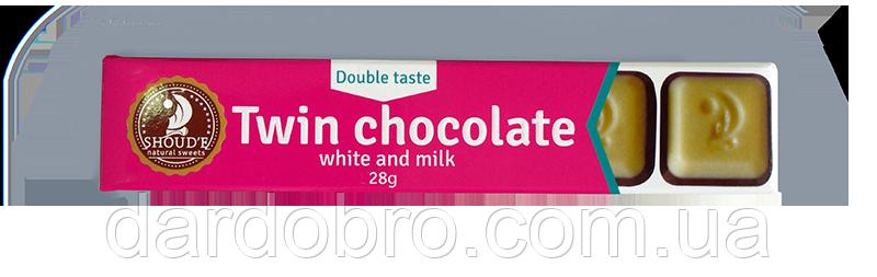 Шоколад SHOUD'E Подвійний білий і молочний 28 гр