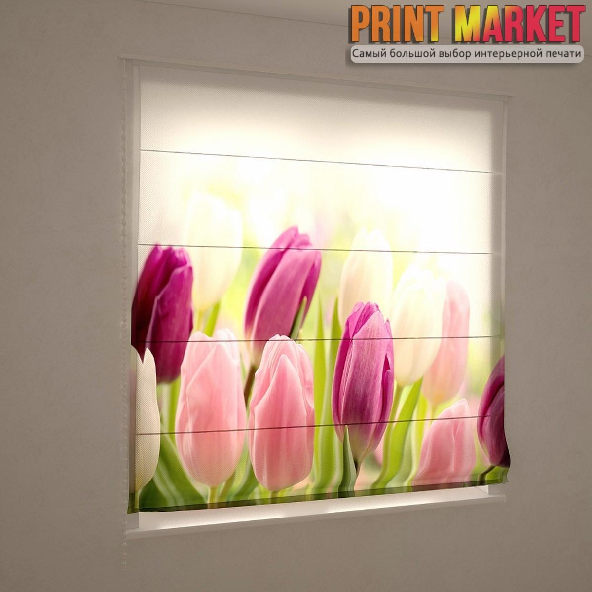 Фотошторы римские желтые фиолетово-розовые тюльпаны