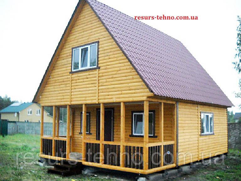 Дачный домик 6м х 6м из блокхауса с мансардой и террассой
