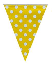 """Флажки вымпелы """"Горох жёлтый"""". Длина: 2,5 метра."""