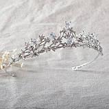 Корона, диадема, тиара под серебро, высота 3,5 см., фото 2