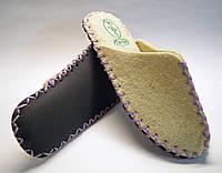 Войлочные шерстяные тапочки женские с сиреневым шнурком, фото 1