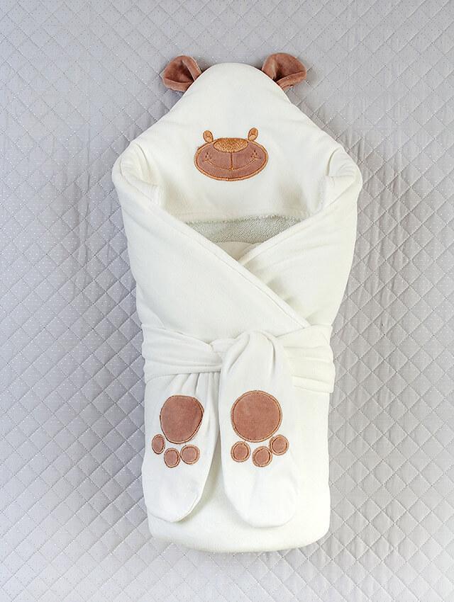"""Зимний конверт-одеяло для новорожденных """"Панда"""" молочный"""