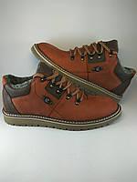 Ecco ботинки comfort из натуральной кожи на меху рыжий (зима)