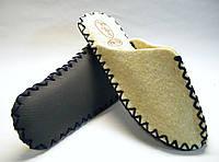 Тапочки из натуральной шерсти войлочные для мужчин с темно-синим шнурком