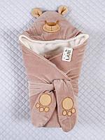 """Зимний конверт-одеяло для новорожденных, на выписку, """"Панда"""" молочный шоколад"""