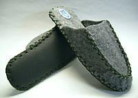 Мужские тапочки из фетра ручной работы с шнурком цвета хаки, фото 1