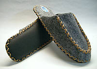 Тапочки из фетра мужские ручной работы с бежевым шнурком