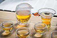 Набор чайной посуды стеклянной с двойным дном для питья китайского чая методом проливов