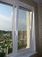 Окно двухстворчатое одно поворотное-откидное второе-глухое профиль Wintech 4 кам.