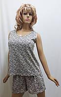 Пижама женская майка и шорты большого размера хлопок 232