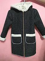 Стильное пальто-дубленка для девочки в расцветке