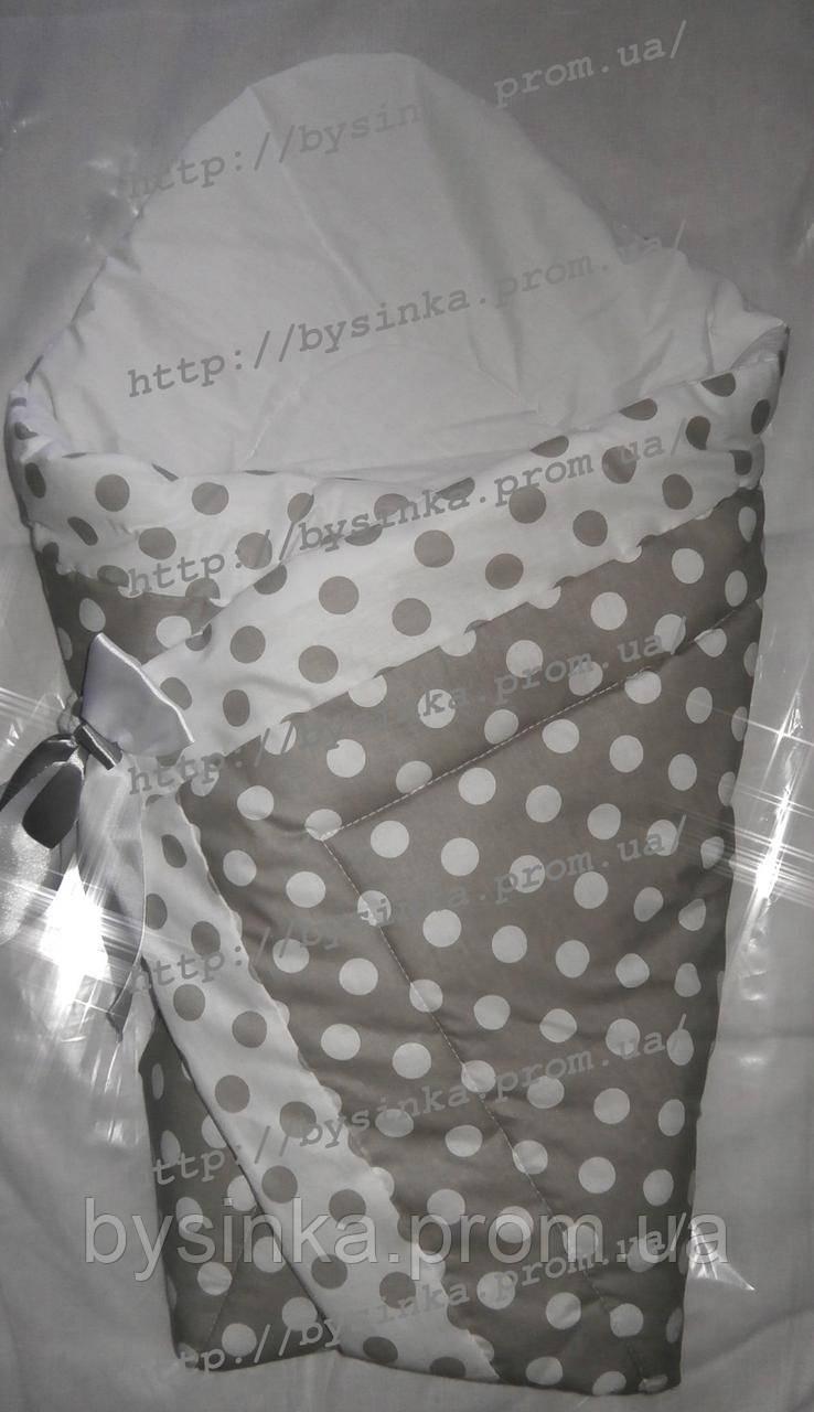 """Конверт-одеяло на выписку на липучке с красивым бантом (зимний-демисезонный), 90х90- """"Серый горошек"""""""