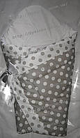 """Конверт-одеяло на выписку на липучке с красивым бантом (зимний-демисезонный), 90х90- """"Серый горошек"""", фото 1"""