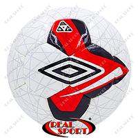 Футбольный мяч №5 DX Umbro FB-6209-3 (№5, 5 сл., сшит вручную, бело-красный)