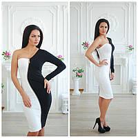 Вечернее черно-белое платье с одним рукавом 4503145