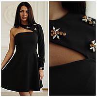 Платье с расклешенной юбкой и одним рукавом 4503146