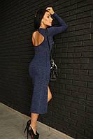 Ангоровое приталенное женское платье с разрезом 1403153
