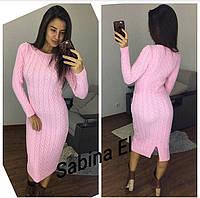 Теплое женское вязаное платье ниже колена 703149