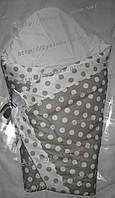 """Конверт-одеяло на выписку на липучке с красивым бантом (зимний), 90х90- """"Серый горошек"""""""