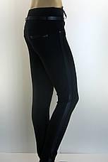 Жіночі чорні трикотажні  штани з лампасами, фото 2