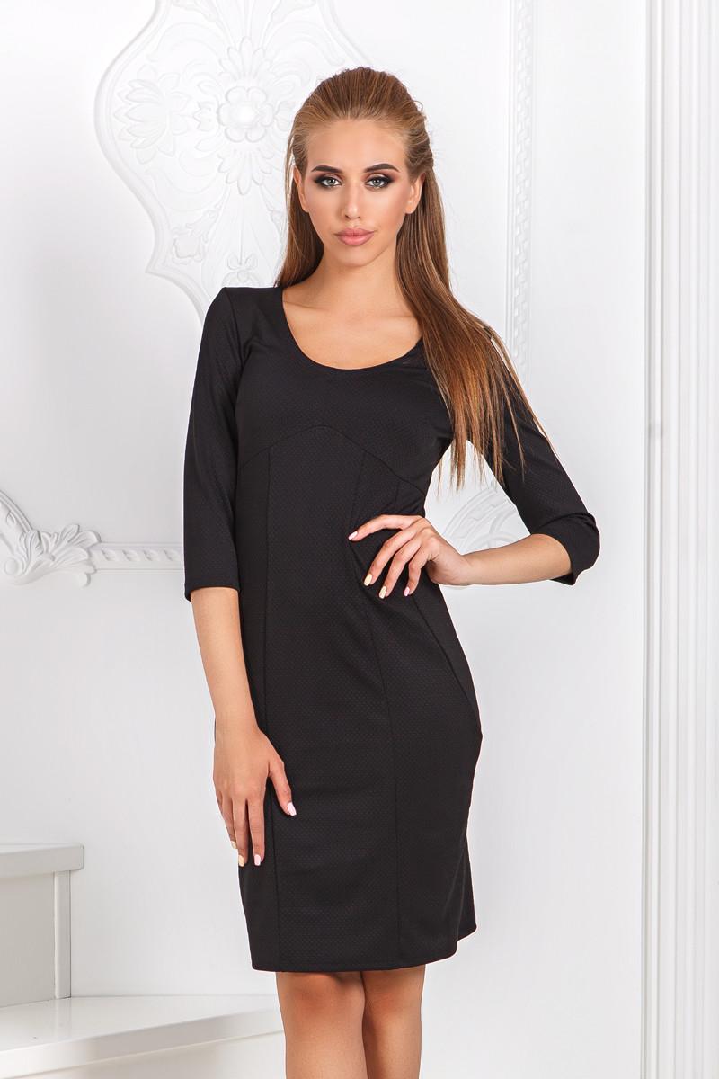 ДР1532 Платье облегающее черное