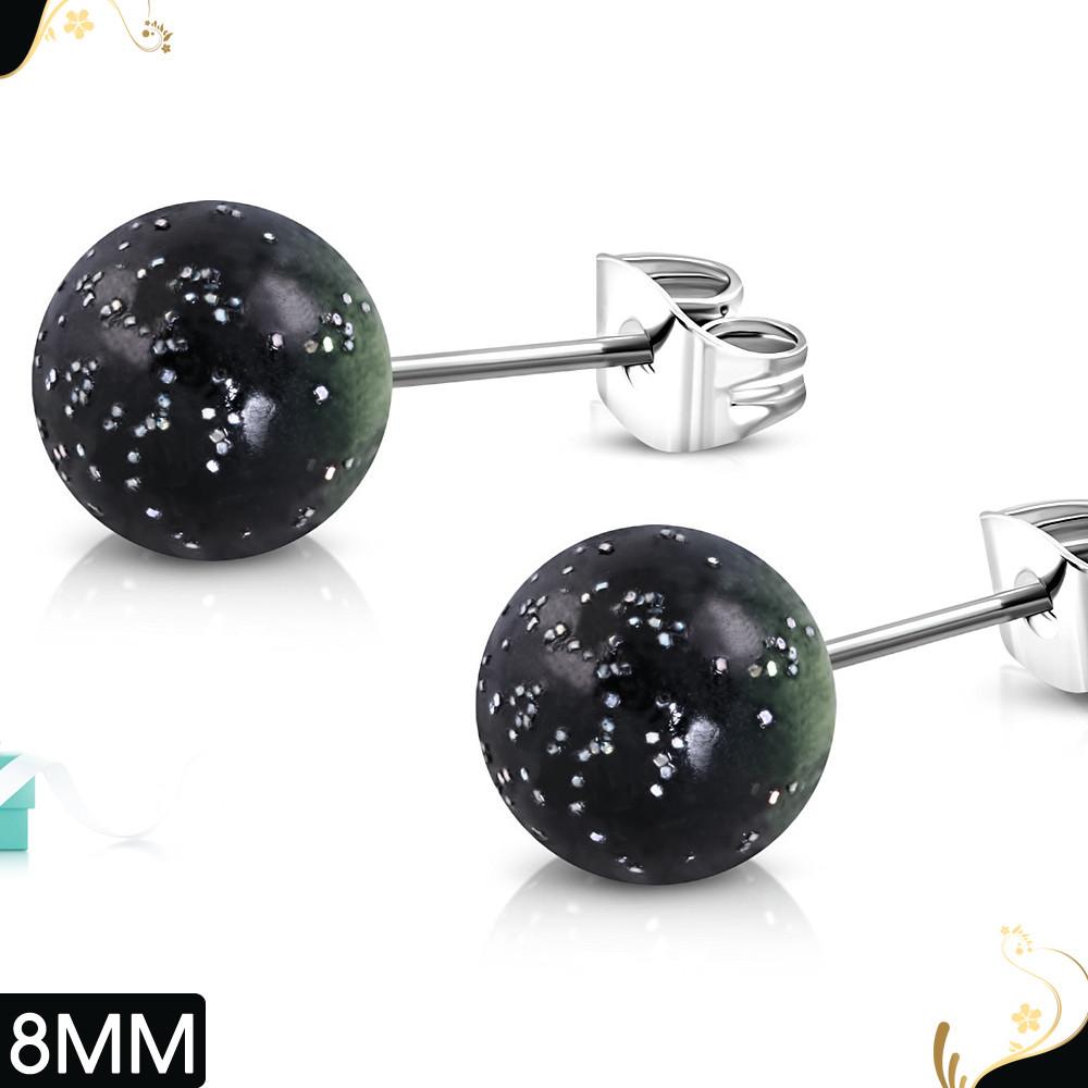 Серьги гвоздики шарики черно-зеленый градиент с блестками 316