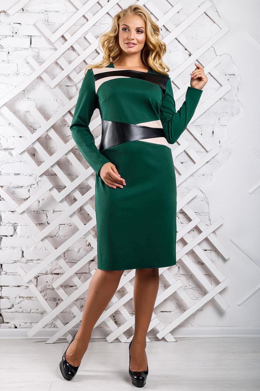 babf9aaf0b2 Модное Платье Большого Размера Вставки из Экокожи Зеленое р.50-56 ...