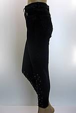 Джинси жіночіи mom jeans чорні з бісером, фото 2