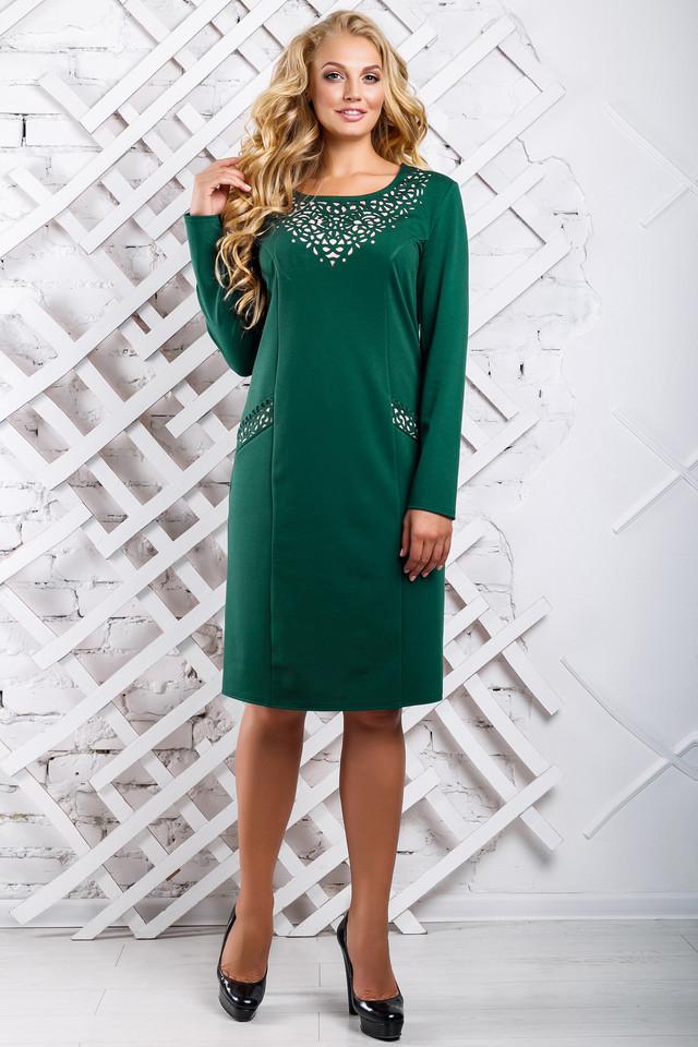 3efb25acee2 Нарядное Платье Большого Размера с Перфорацией Зеленое р.52-58 ...