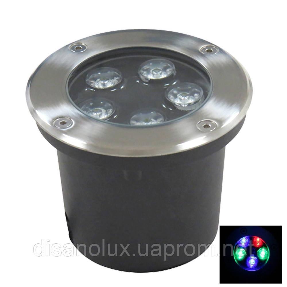 Светильник грунтовый LED QR-02  5W RGB 220V  IP65 размер 100мм*75мм