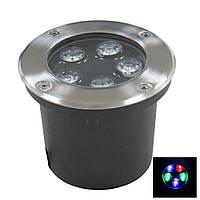 Светильник грунтовый LED QR-02  5W 220V RGB IP67