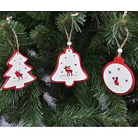 Новогодние украшения из дерева 6шт в упаковке
