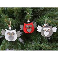 """Новогодние украшения из дерева """"Сова"""" 12 шт в упаковке"""
