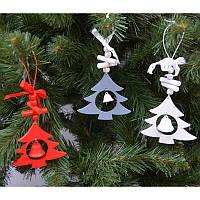 """Новогодние украшения из дерева """"Елка"""" 6 шт в упаковке"""