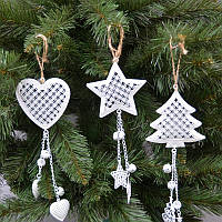 Новогодние украшения из металла 12 шт подвесок в упаковке