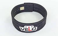 Пояс профессиональный для пауэрлифтинга из натуральной кожи VELO (черный)