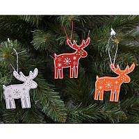 """Новогодние украшения из дерева """"Олень"""" 12 шт в упаковке"""
