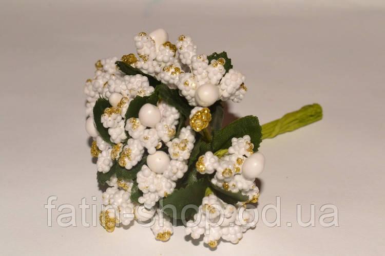 Тычинки цветочек с блестками. цв.Белый