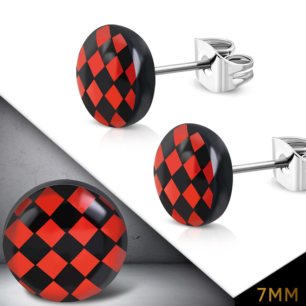 Сережки гвоздики червоне на чорному