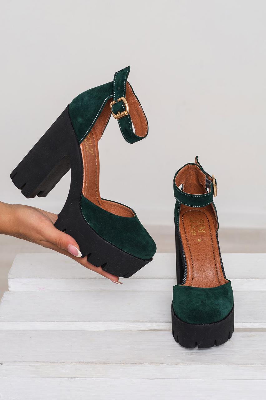 Женские босоножки на высоком устойчивом каблуке ТМ Bona Mente