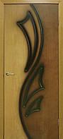 Двери межкомнатные натуральный  глухая шпон Лилия 2 ПГ орех/дуб ДНТ